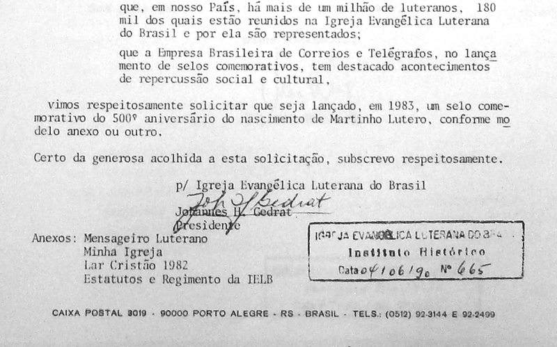 Pedido do selo - 25/11/1981