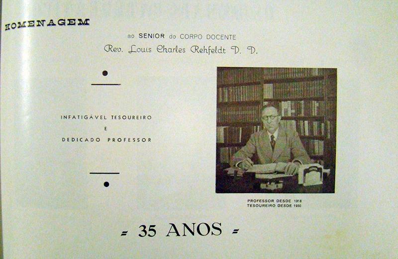 Homenagem ao Rev. Louis Charles Rehfeldt
